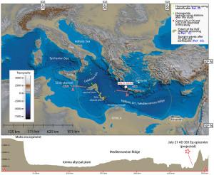 Carta in rilievo della topografia / batimetria del Mediterraneo centro-orientale Mare: Batimetria globale e dati di elevazione da SRTM30_PLUS (Becker et al, 2009.).