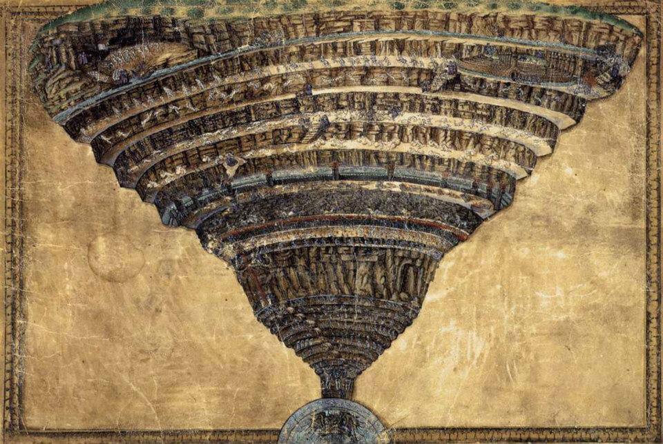 """La """"Mappa dell'Inferno"""" realizzata da Sandro Botticelli."""