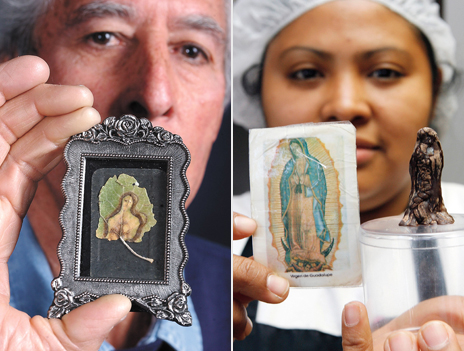 Mona Lisa or Virgin Mary on a leaf; and the Madonna in chocolate