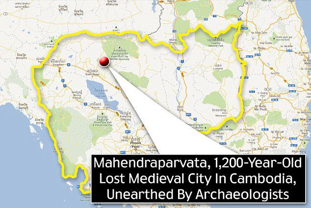 Mappa con la collocazione spaziale di Mahendraparvata, distante 40 km da Angkor Wat
