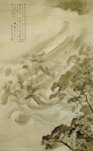La flotta mongola distrutta da un tifone. Kikuchi Yōsai, 1847 (wikipedia)