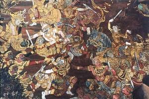 Scena tratta dal Ramayana durante un momento della guerra con gli Asura
