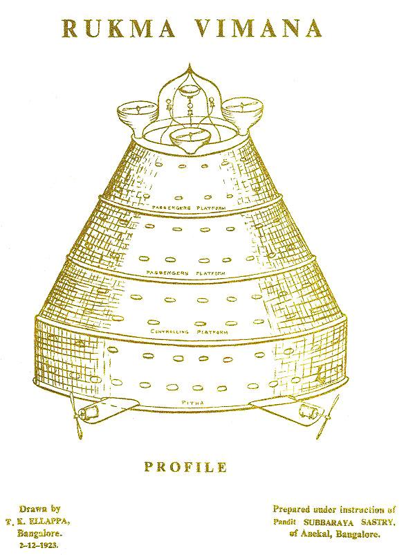 Raffigurazione tratta dal Vymanika Shastra del Rukma Vimana estremamente simile agli antichi Ratha indiani.