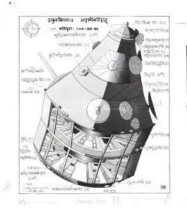 Ricostruzione realizzata da David W. Davenport del Rukma Vimana secondo le descrizioni fornite nel Vymanika Shastra.