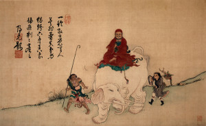 Bodhidharma_on_Elephant_Yiran_Inscription_by_Yinyuan_color_on_silk_hanging_scroll