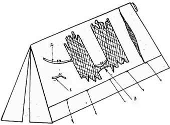 Disegno delle lacerazioni sulla tenda secondo il referto del team di recupero.