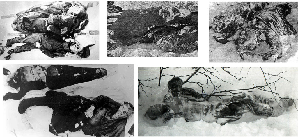 I corpi degli altri membri del gruppo Dyatlov.