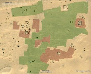 evidenziat-in-nero-sono-le-fortificazioni-in-rosso-le-abitazioni-in-verde-gli-orti-copyright-2011-google-image-copyright-2011-digitalglobe